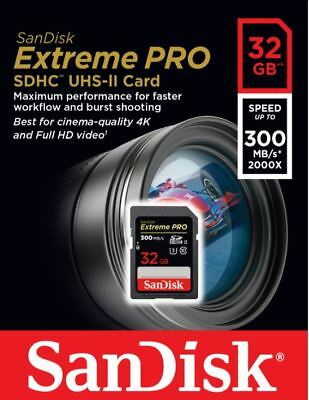 SanDisk Extreme PRO 32 GB up to 300MB/s UHS-II Class 10 U3 SDHC Memory Card 4K