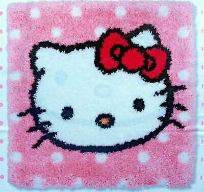 """LATCH HOOK RUG/PILLOW MAKING KIT """"HELLO KITTY"""" by Anchor"""