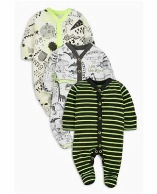 Ex Next Baby Boys Dinosaur 3 Pack Sleepsuits Babygrow Age 0/1 0/3 9/12 Months