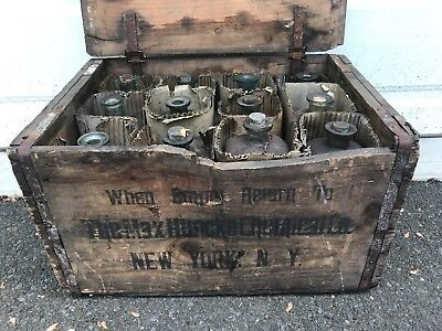 Full Crate Of Antique Max Huncke Embalming Fluid Bottles As Found
