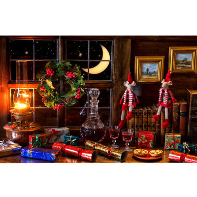 5x7ft Vinyl Red Wine Gift Window Christmas Photo Backdrops Photography Backgroun