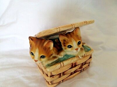 Vtg 2 Kittens in a Basket Tastesetter Sigma Trinket Box Cat Ceramic