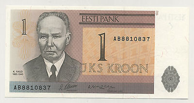 Estonia 1 Kroon 1992 Pick 69 UNC Uncirculated Banknote Serial AB