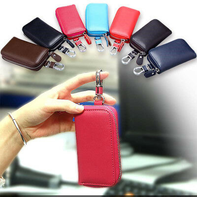Genuine Key Holder Case Leather Keychains Pouch Bag Car Wallet Key Ring Hanger