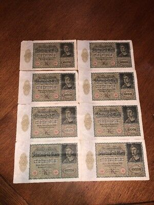 Lot of 8 , 10000 Mark 1922 Germany, Reichsbanknote Paper Money Uncirculated?