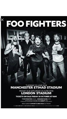 2xStanding Foo Fighters Tickets Friday 22nd Of June Olympic Park Stadium London
