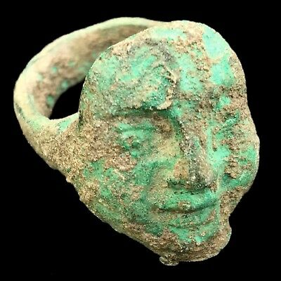 Very Rare Ancient Roman Bronze Bust Ring  200-400 Ad
