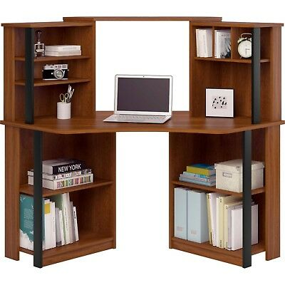 Deluxe Corner Work Station Laptop Computer Office Desk Wood Shelves Home Table