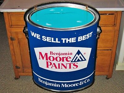 """Vtg Double Sided Die-Cut Benjamin Moore Paints Can Advertising Hanging Sign 35"""""""
