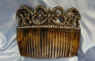 Vintage Large Art Deco Faux Tortoise Shell w/ Rhinestones Hair Comb Accessory
