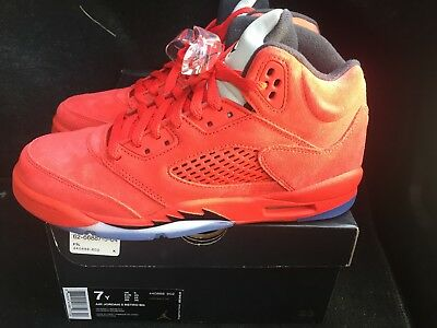 New Jordan 5s, RED !  size 7Y, only $125.00 free s/h & socks