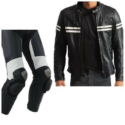 WHITE STRIP-Motorbike/Motorcycle Racing Leather Suit Cowhide-Biker-CE APPROVED