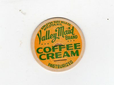 "Appleton Pure Milk Dairy ""valley Maid"" Appleton Wi Coffee Cream Milk Cap Wis"