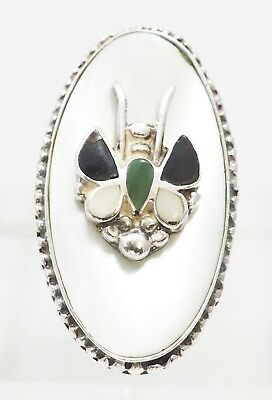 VTG 1950 Sterling Silver Mother Of Pearl, Black Onyx Butterfly Bug Ring Size