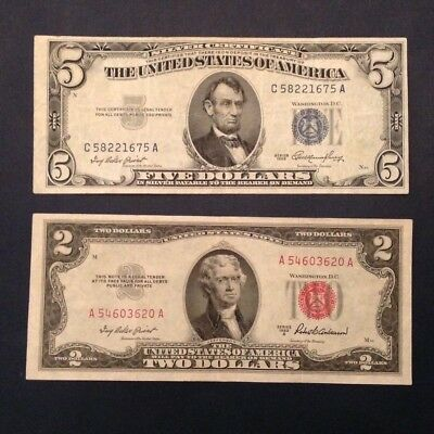 Lot of 2 US Notes: 1953 $5 Blue Seal Silver Certificate & 1953 A $2 Red Seal