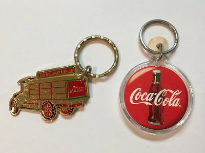 Lot/2 Coca-Cola Coke Vtg 1987 Delivery Truck Keychain Key Ring Chain Soda Pop