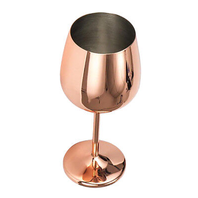 Stainless Steel Wine Glass Unbreakable Champagne Goblet Cup 500ml Rose Gold