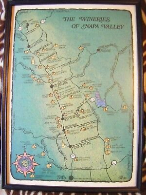 Vintage 1977 California Wineries Of Napa Valley Colorful Map