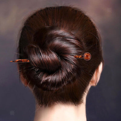 6 Pcs Printed Wooden Hair Stick Women Hair Pin Vintage Hair Accessories 13cm