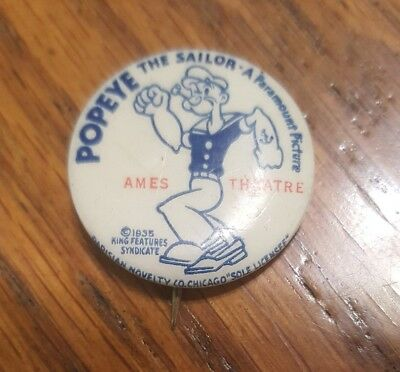 Vintage 1935 Popeye The Sailor A Parmount Picture Pin/ Button