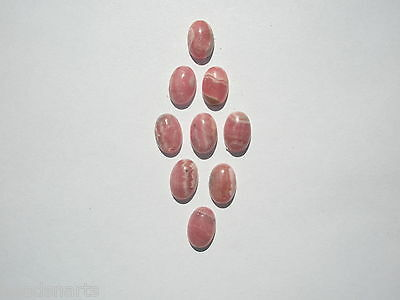 Natural Rhodochrosite Gemstone Oval Cabochons - 12x8mm - Lot of 9