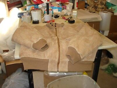 Vintage ROUGH CUT Mens Tan Suede Leather  Bomber Style Jacket Size Large
