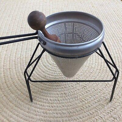 Vintage Aluminum Cone Strainer /Sieve /Ricer in Stand with Wooden Pestle