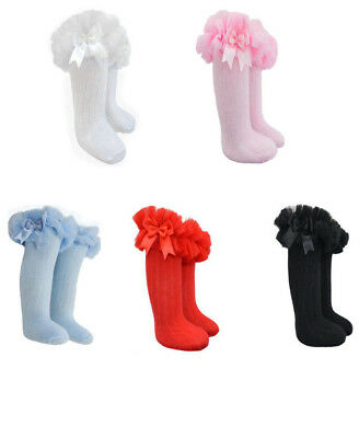Tutu Socks Girls Ribbed Knee Spanish Organza Lace Satin Bow Soft Touch NB-6yrs