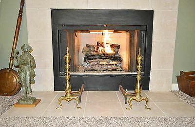 Vintage/Antique FEDERAL STYLE GOLD TONE OVER BRASS ANDIRONS Fire Dogs A.W.S. CO