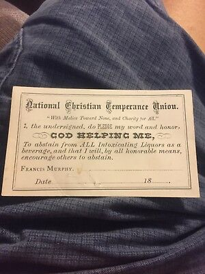 christian temprance union card swearing off intoxicating liquors 1800's