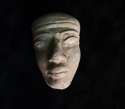 Ancient Egyptian Clay Mummy Mask Late Period, 664-332 BC
