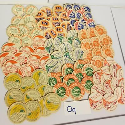 Vintage Dairy advertising NOS 90 unused bottle caps bright graphics 10ea 9 kinds