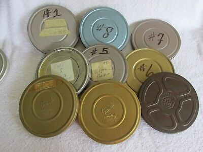 """Mixed Lot of 9 Vintage Super 8  8mm Home Movies 5"""" Reels Films with Case"""