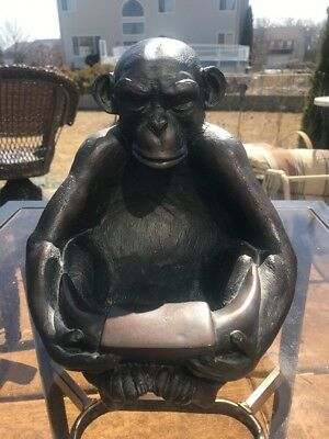 VINTAGE MONKEY Chimpanzee Planter, Bird Bath, Garden Heavy USA Statue Bowl