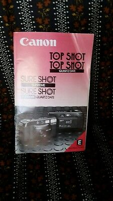 Canon Top Shot Sure Shot Manual Instructions Booklet