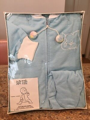 Vtg MIP NOS Baby Romper 100% Cotton Thermal Flannel 6-12 mos
