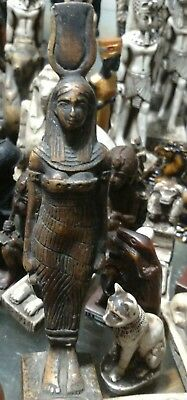 Egyptian Statue Isis Goddess of Marriage & Wisdom Natural Carved Stone, 175 mm