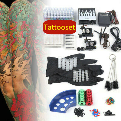 Tätowierung Komplett Set 2 Tattoomaschine 40 inks Koffer 50 Nadeln Tattoo Kit DE
