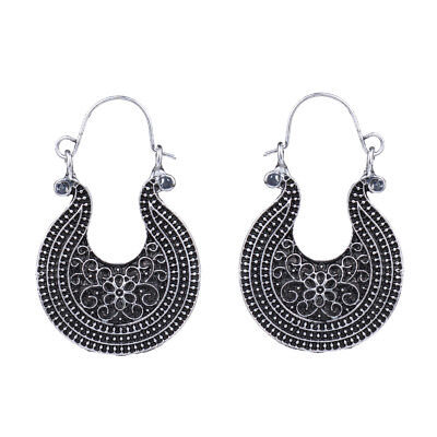 Retro Vintage Antique Silver Carved Flower Round Hoop Earrings For Women New
