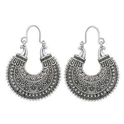 Retro Vintage Antique Silver Hollow Out Filigree Flower Hoop Earrings For Women