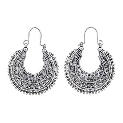 Retro Vintage Antique Silver Mesh Hollow Out Filigree Hoop Earrings For Women