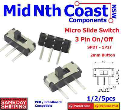 1/2/5pc Micro On/Off SPDT 1P2T 3-Pin PCB Side Mount Slide Switch 2mm Button