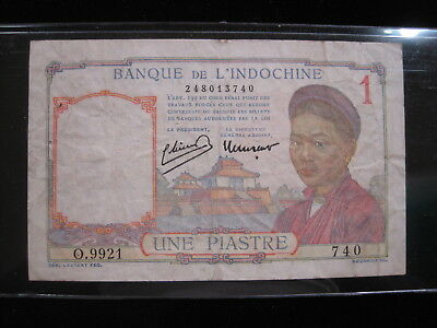 French Indo China 1 Piastre 1949 P54 Vietnam Cambodia 82# Banknote Paper Money