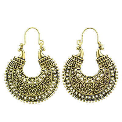 Retro Vintage Antique Gold Hollow Out Filigree Flower Hoop Earrings For Women