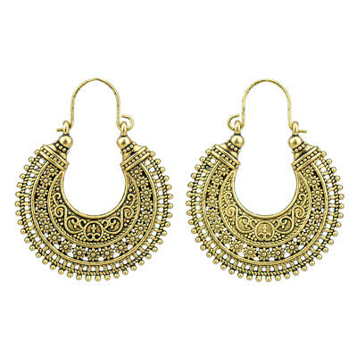 Retro Vintage Antique Gold Tone Mesh Hollow Out Filigree Hoop Earrings For Women