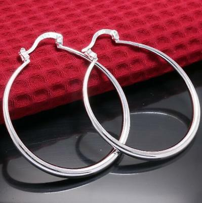 Womens 925 Sterling Silver Elegant 40mm Round Hoop Fashion Earrings #E216