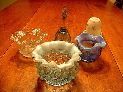 Lot of 5 Fenton Art Glass Pieces Opalescent Rose Bowls Bell & Fairy Lamp