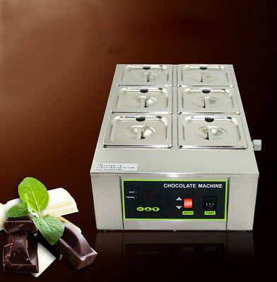 6 Pans Well Bain Marie Chocolate Melter Warmer Stainless Steel Water Heater