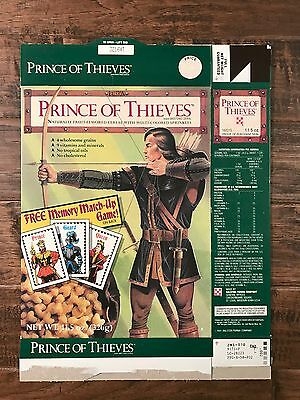 "1991 Ralston ROBIN HOOD ""PRINCE OF THIEVES"" Cereal Box, With Memory Game! RARE!"