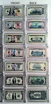 Complete Set of 7 x USA New Note 1 oz Ingots 999 Silver Plated/Colour Printed